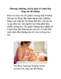Massage thường xuyên giúp trẻ mau lớn, tăng sức đề kháng