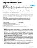 """báo cáo khoa học: """"  Role of """"external facilitation"""" in implementation of research findings: a qualitative evaluation of facilitation experiences in the Veterans Health Administration"""""""