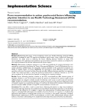 """báo cáo khoa học: """"From recommendation to action: psychosocial factors influencing physician intention to use Health Technology Assessment (HTA) recommendations"""""""