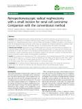 """Báo cáo khoa hoc:""""  Retroperitoneoscopic radical nephrectomy with a small incision for renal cell carcinoma: Comparison with the conventional method"""""""