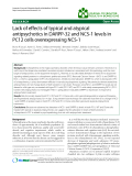 """Báo cáo khoa hoc:""""  Lack of effects of typical and atypical antipsychotics in DARPP-32 and NCS-1 levels in PC12 cells overexpressing NCS-1"""""""
