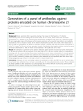 """Báo cáo khoa hoc:""""  Generation of a panel of antibodies against proteins encoded on human chromosome 21"""""""