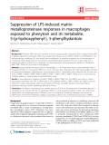 """Báo cáo y học: """" Suppression of LPS-induced matrixmetalloproteinase responses in macrophages exposed to phenytoin and its metabolite, 5-(p-hydroxyphenyl-), 5-phenylhydantoin"""""""