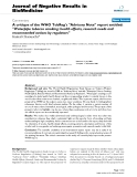 "Báo cáo khoa hoc:""  A critique of the WHO TobReg's ""Advisory Note"" report entitled: ""Waterpipe tobacco smoking: health effects, research needs and recommended actions by regulators"""