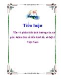 Tiểu luận: Nêu và phân tích ảnh hưởng của sự phát triển dân số đến kinh tế, xã hội ở Việt Nam