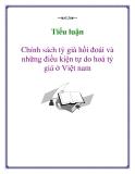 Tiểu luận: Chính sách tỷ giá hối đoái và những điều kiện tự do hoá tỷ giá ở Việt nam