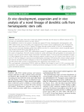 "Báo cáo y học: ""Ex vivo development, expansion and in vivo analysis of a novel lineage of dendritic cells from hematopoietic stem cells"""