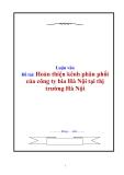 Đề tài: Hoàn thiện kênh phân phối của công ty bia Hà Nội tại thị trường Hà Nội