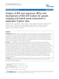 """báo cáo khoa học: """" Analysis of BAC-end sequences (BESs) and development of BES-SSR markers for genetic mapping and hybrid purity assessment in pigeonpea (Cajanus spp.)"""""""