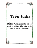 Đề tài: Chính sách tỷ giá hối đoái và những điều kiện tự do hoá tỷ giá ở Việt nam