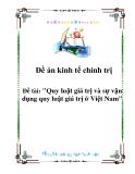 Đề án kinh tế chính trị :Quy luật giá trị và sự vận dụng quy luật giá trị ở Việt Nam