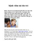 Chữa bệnh viêm tai cho trẻ