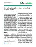 "báo cáo khoa học: ""  Non-coding RNAs: a key to future personalized molecular therapy?"""