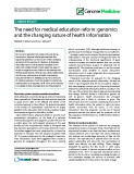 "báo cáo khoa học: "" The need for medical education reform: genomics and the changing nature of health information"""