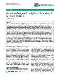 "báo cáo khoa học: "" Genetic and epigenetic insights into fetal alcohol spectrum disorders"""