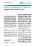 "báo cáo khoa học: ""Predicting prognosis of breast cancer with gene signatures: are we lost in a sea of data?"""