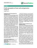"báo cáo khoa học: ""Public perception of stem cell and genomics research"""
