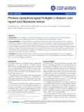 "Báo cáo y học: "" Primary nasopharyngeal Hodgkin's disease: case report and literature review"""