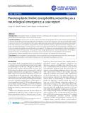 "Báo cáo y học: "" Paraneoplastic limbic encephalitis presenting as a neurological emergency: a case report"""