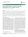 """báo cáo khoa học: """"Psychosocial impact of sickle cell disorder: perspectives from a Nigerian setting"""""""