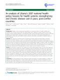 """báo cáo khoa học: """" An analysis of Liberia's 2007 national health policy: lessons for health systems strengthening and chronic disease care in poor, post-conflict countries"""""""