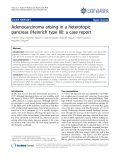 "Báo cáo y học: "" Adenocarcinoma arising in a heterotopic pancreas (Heinrich type III): a case report"""