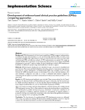"""báo cáo khoa học: """" Development of evidence-based clinical practice guidelines (CPGs): comparing approaches"""""""