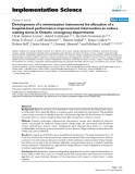 """báo cáo khoa học: """" Development of a minimization instrument for allocation of a hospital-level performance improvement intervention to reduce waiting times in Ontario emergency departments"""""""