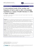"""báo cáo khoa học: """"  A cross-sectional study of the number and frequency of terms used to refer to knowledge translation in a body of health literature in 2006: a Tower of Babel?"""""""
