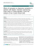 "Báo cáo y học: ""  Effects of asenapine on depressive symptoms in patients with bipolar I disorder experiencing acute manic or mixed """