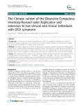 """Báo cáo y học: """" The Chinese version of the Obsessive-Compulsive Inventory-Revised scale: Replication and extension to non-clinical and clinical individuals with OCD symptoms"""""""