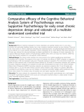 "Báo cáo y học: "" Comparative efficacy of the Cognitive Behavioral Analysis System of Psychotherapy versus Supportive Psychotherapy for early onset chronic depression: design and rationale of a multisite randomized controlled trial"""