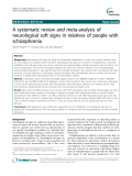 "Báo cáo y học: ""   A systematic review and meta-analysis of neurological soft signs in relatives of people with schizophrenia"""
