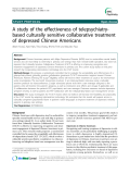 """Báo cáo y học: """" A study of the effectiveness of telepsychiatrybased culturally sensitive collaborative treatment of depressed Chinese Americans"""""""