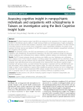 """Báo cáo y học: """"  Assessing cognitive insight in nonpsychiatric individuals and outpatients with schizophrenia in Taiwan: an investigation using the Beck Cognitive Insight Scale"""""""
