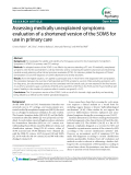 """Báo cáo y học: """"  Assessing medically unexplained symptoms: evaluation of a shortened version of the SOMS for use in primary care"""""""