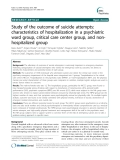 """Báo cáo y học: """"Study of the outcome of suicide attempts: characteristics of hospitalization in a psychiatric ward group, critical care center group, and nonhospitalized group"""""""