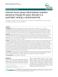 """Báo cáo y học: """"Internet-versus group-administered cognitive behaviour therapy for panic disorder in a psychiatric setting: a randomised trial"""""""