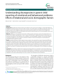 """Báo cáo y học: """"Understanding discrepancies in parent-child reporting of emotional and behavioural problems: Effects of relational and socio-demographic factors"""""""