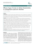 """Báo cáo y học: """"Effects of age of onset on clinical characteristics in schizophrenia spectrum disorders"""""""