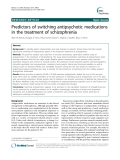 """Báo cáo y học: """"Predictors of switching antipsychotic medications in the treatment of schizophrenia"""""""