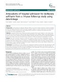 """Báo cáo y học: """" Antecedents of hospital admission for deliberate self-harm from a 14-year follow-up study using data-linkage"""""""