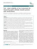 """Báo cáo y học: """" Test - retest reliability of two instruments for measuring public attitudes towards persons with mental illness"""""""