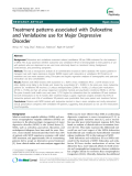 """Báo cáo y học: """" Treatment patterns associated with Duloxetine and Venlafaxine use for Major Depressive Disorder"""""""