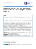 """báo cáo khoa học: """"   Randomized, placebo-controlled, double-blind trial of Swedish snus for smoking reduction and cessation"""""""