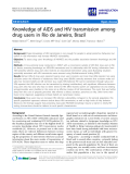 """báo cáo khoa học: """"   Knowledge of AIDS and HIV transmission among drug users in Rio de Janeiro, Brazil"""""""