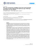 """Báo cáo y học: """" Rare case of autonomic instability of the lower limb presenting as painless Complex Regional Pain Syndrome type I following hip surgery: two cas"""""""