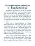 Vắcxin phòng bệnh sởi - quai bị - Rubella: lợi và hại