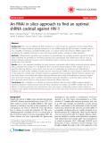 """Báo cáo y học: """" An RNAi in silico approach to find an optimal shRNA cocktail against HIV-1"""""""