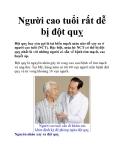 Người cao tuổi rất dễ bị đột quỵ